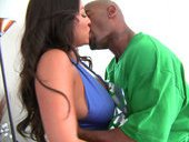 Hot Latina Adriana Luna sucking a black cock