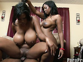 Two big booty best friends ride a black dick in a threesome party