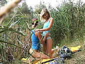 Two slutty lesbians go fishing but ending up having sex