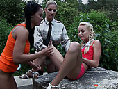 Two lustful  teens are punished by older woman for outdoor filthy behavior