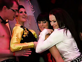 Lewd hot and seductive gals gonna provide dicks with handjob and blowjob in club