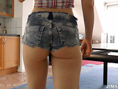 Cutie in trainers Minny go wild and kneels down for sucking a dick joyfully