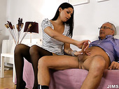 Stunning brunette hottie Cypriana rides on top before doggyfuck