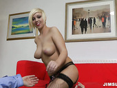 Old fucker drills tight wet pussy of blonde sexpot Scarlet Lovatt