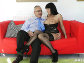 Saucy brunette MILF in corset Daisy Rock gives some head