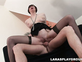 Perverted British filth Lara Latex does her best while riding a dick for joy