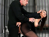 Asian slut gets her pussy slammed hard in prison cell