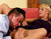 Seductive blond filth provides a lucky dude with a reverse dick ride