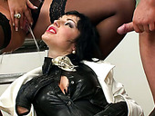 Filthy brunette hoe gets pissed before a fuck in doggy pose