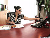 Horny boss calls her secretary to have steamy lesbian sex in the office