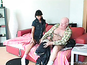 Smart whore Tereza bows above the dick of old man and sucks it passionately