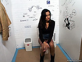 Slim hot brunette in high boots Jennifer gives a blowjob for cum in the WC
