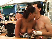 Tanned ordinary brunette Alexandra B sucks and rides a dick in sidewalk cafe
