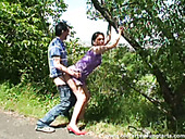 Country girl Jan bends over the tree to be fucked from behind tough