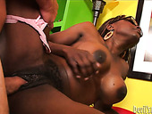 Dark skinned granny is banged brutally from behind