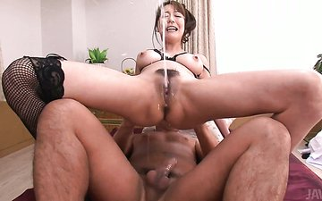 Arousing Japanese babe Akari Asagiri gets pounded in missionary style in MMF sex clip
