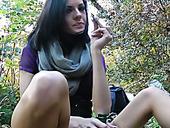 Filthy brunette prostitute finger fucks her stretched vagina