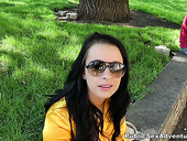 Naughty hoe is getting screwed in a public park