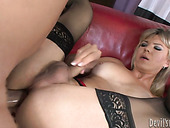 Mature shemale hoe screwed hard in a missionary position