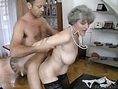 Slutty grannies are banged in their asshole