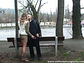 Wandering in the park blond whore Kristyna wins the gaffer's dick for a blowjob
