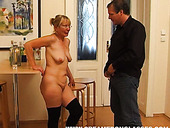 Ugly blond woman sucks a strong hot dick for sticky cum right in the hall