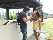 Fuck hungry teen gives a head to a stranger she just met at railway station