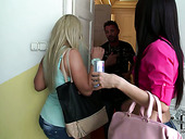 Bored brunette and blondie have fun by polishing each other's cunts with dildo