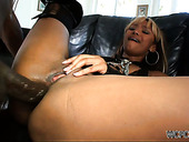Light haired ebony filth in boots Bella Moretti stretches legs to be analfucked
