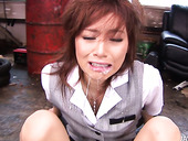 Salty Japanese cutie gives a blowjob while being bandaged for cum