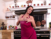 Rich breasted thick housewife gets horny while doing kitchen work