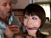Spoiled Japanese MILF gets her booty slapped by aroused white dude