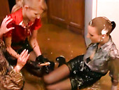 Three slutty housewives get really messy in the kitchen with syrup