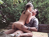 Sensual skinny teen rides her lover and takes mouthful outdoors
