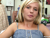 Giggling short haired blondie Bella lets the dude plays with sweet tits and rub her clit