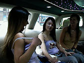 Tipsy teen lesbians gonna eat and tickle pussies for orgasm in the limo