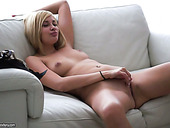 Super sexy blonde with big tits finger fucks herself