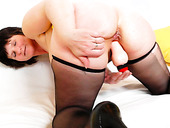 Busty momma Slavomira dildo fucks her pussy in doggy style
