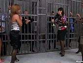 Perverted tipsy gals get in the prison and gonna tease each other's pussies
