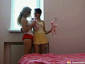 Sexy Russian chicks with fine bodies caress one another having hot lesbian foreplay