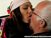 Horny and voracious slender brunette Silvie sucks the dick of old man Cees