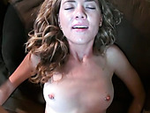 Seductive blond whore gets her pussy ripped hard in missionary style