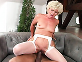 Dirty granny Effie is riding hard dong before getting rammed doggy style