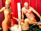 Bootylicious hot and kinky gals gonna ride bald headed man's dick (FFM)
