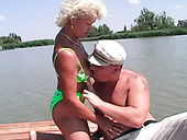 Fraught granny gives her head and gets finger fucked outdoor