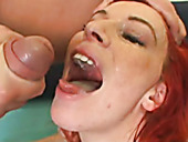 Whorish red-haired bitch pisses in horny dude's mouth