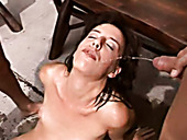 Raunchy brunette bitch is piss drinking in filthy old young fuck video