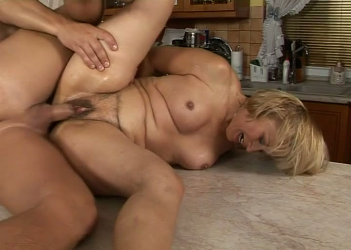Mature woman kitchen sex