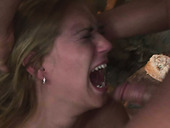 Whorish blond chic is ordered to give deepthroat in BDSM-styled sex scene