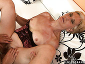 Arousing blond mature gets her bushy snatch drilled in missionary style